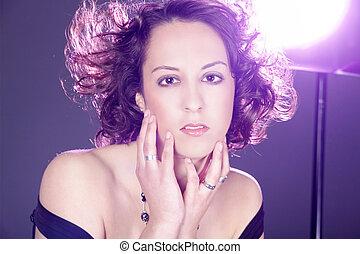 pretty woman in studio