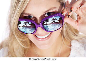 nő, szemüveg