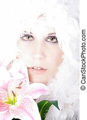 pretty woman in studio light
