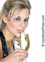 blond woman drinking champagne