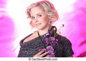 pretty woman with pink background