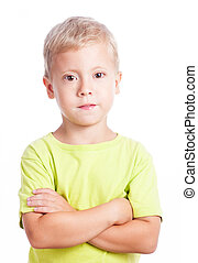 little boy with hands folded isolated on white background