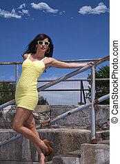 pretty woman in fashion outdoor - pretty woman in fashion...
