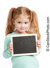 Small Cute Girl With Chalkboard - Cute three year old girl...