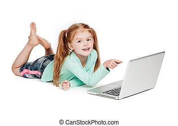 Small Girl Pointing At Laptop Computer - Young girl with...