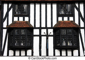 Tudor Beamed Building In Close Crop - Close crop photo of an...
