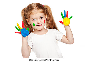 Three Year Old Gilr With Brightly Painted Hands - Toddler...