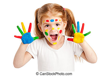 Three Year Old Gilr With Brightly Painted Hands - Funny...