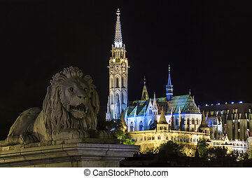 Lion Guarding the Matyaacute;s Templom in Budapest Hungary -...
