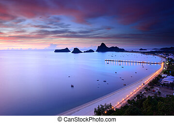 Sunrise view of Ao Manao bay in Thailand - Sunrise view of...