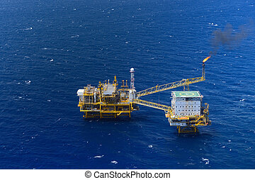 Top view offshore oil rig platform - the top view offshore...