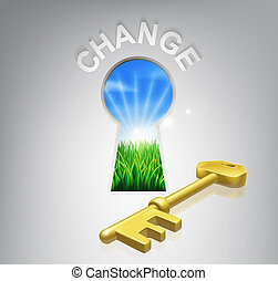 Key to Change - Key to change conceptual illustration of an...