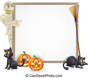 Mummy Halloween Banner Sign - Halloween sign or banner with...