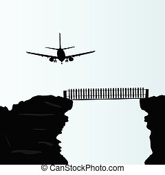 plane above the bridge on the cliff vector illustration