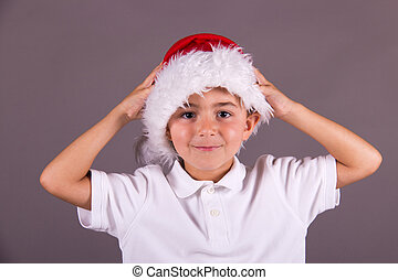 Little boy with Christmas hat