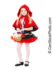Little blond girl dressed as little red riding hood with...