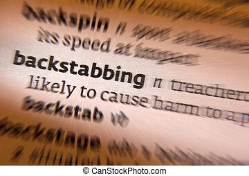 backstabbing, -, diccionario, definición