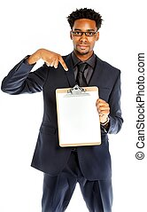 Attractive afro-american business man posing in studio...