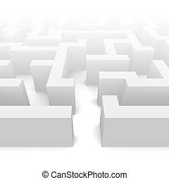 Labyrinth in fog illustration. 3d rendered image.