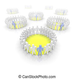 Work groups illustration. 3D rendered image.