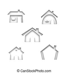Set of 5 house icons - Set of 5 house 3d rendered icon...