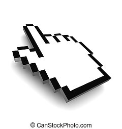 Computer hand cursor 3d rendered illustration