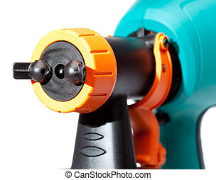 nozzle of an electrical spray gun close up