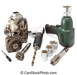 Car repair - details of the pump of high pressure, air impact wrench, air drill