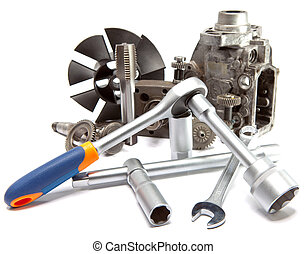 修理, 汽車, 工具, 高, 壓力, 泵, 部份, 背景, 白色