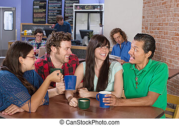 Cheerful Friends Socializing - Cheerful group of people...