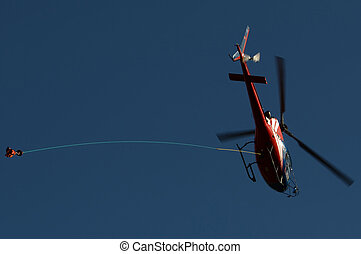 Helicopter with a hook - Flying helicopter with a hook