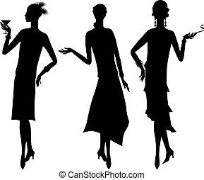 silhouette, bello, ragazza, 1920s, stile