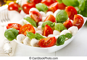 salad with mozzarella and tomatoes - salad with mozzarella,...