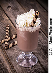 Hot chocolate vintage - Hot chocolate with whipped cream...