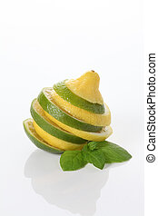 Slices citrus: lemon, lime on isolated background