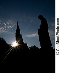 Lourdes basilica - Silhouette of the Basilica of the...