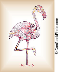 Flamingo - Illustration of abstract design flamingo