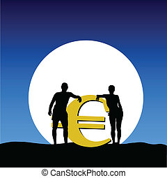 couple with euro on the moonlight vector illustration