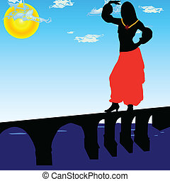 girl dancing on the bridge vector illustration