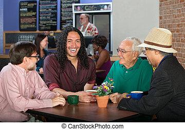 Diverse Men in Cafe
