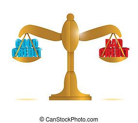good credit vs bad credit balance illustration design over...
