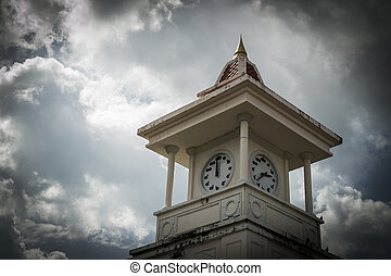 clock tower, phuket, thailand - clock tower with cloudy sky,...
