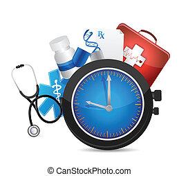 medical time concept illustration design over a white...
