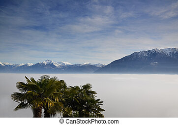 Sea of fog and snow-capped mountain with blue sky and clouds...