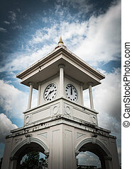 clock tower, phuket, thailand - clock tower with cloudy sky,...