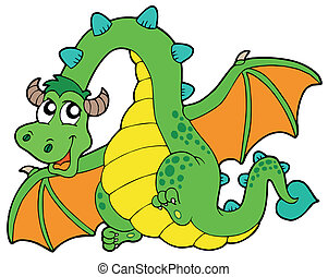 Flying green dragon - vector illustration