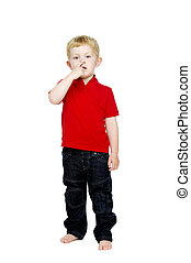 Young boy isolated on a white background - Young boy wearing...