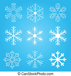 Set of vector snow flakes on blue background