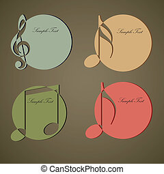 Vintage Music circle label. vector illustration.