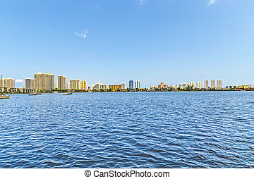 skyline of Miami Florida with view to the sunny isles...
